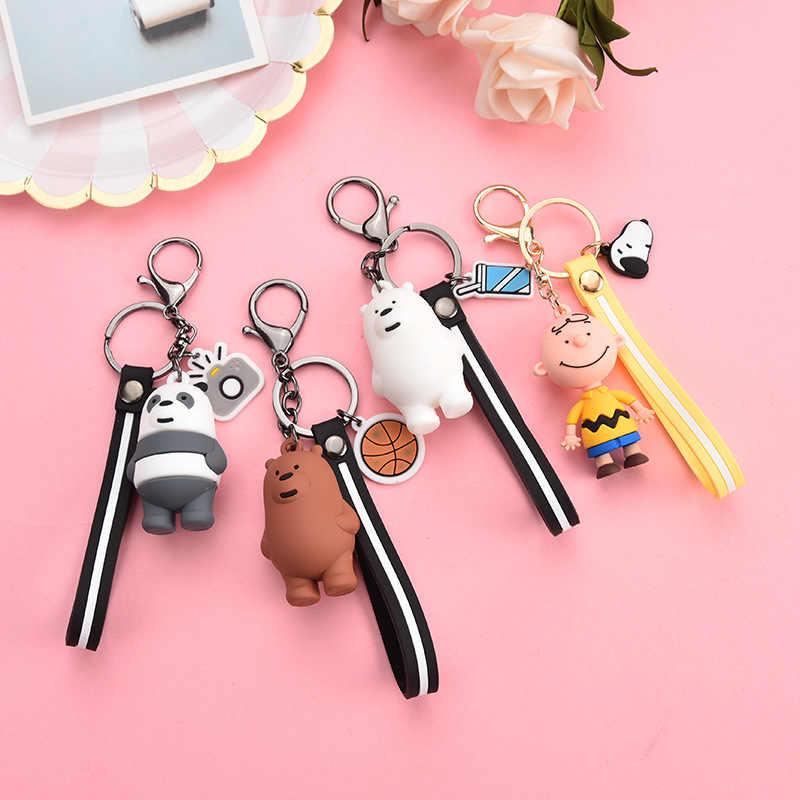 2019 adorável Três Ursos Animais Boneca Dos Desenhos Animados Chaveiros Charlie brown Mulheres anel chave Saco Carro Pingente Trinkets Chaveiro Cinto