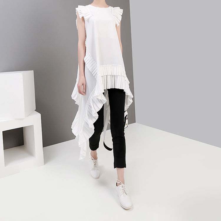 New Fashion Style Irregular Sleeveless Ruffles Hem Blouse Fashion Nova Clothing