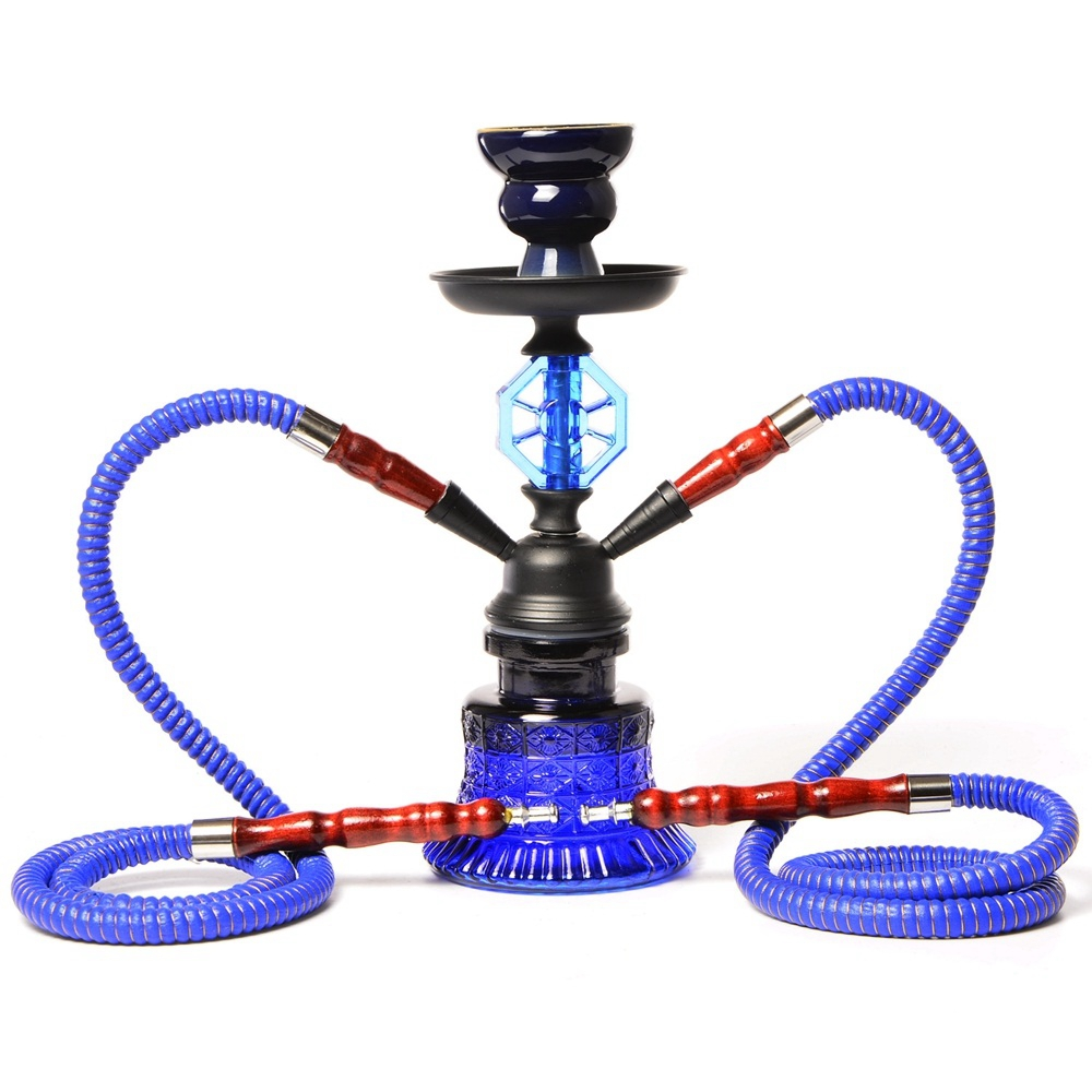 Small Travel Hookah Double Hose Glass Shisha Pipe Set Nargile Chichas with Narguile Hose Bowl Charcoal Tongs Smoking Water Pipe 5