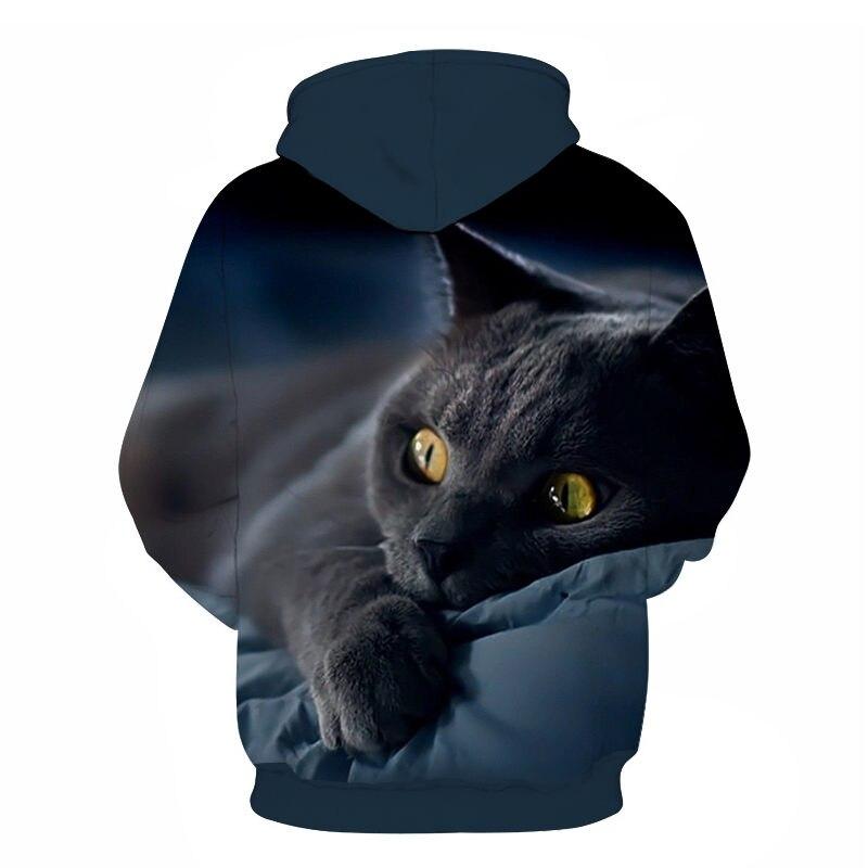 Women's Two Cat Sweatshirts Long Sleeve 3D Hoodies Sweatshirt Pullover Tops Blouse Pullover Hoodie Poleron mujer Confidante Tops 86