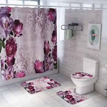 цена на Bathroom Carpet Rug Bath Mat and Shower Curtain Set Bathroom Toilet Rug Floor Bath Mats Home Decor Shower Rugs Bathroom Mats