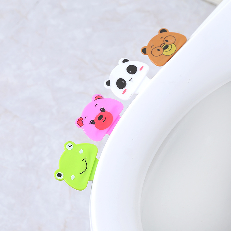 1 Pcs New Cute Cartoon Toilet Cover Lifting Device Bathroom Toilet Lid Portable Handle Bathroom Toilet Seat Accessories