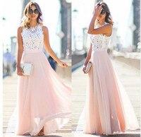 2019 NEW Hot Sell Women Sexy Vestidos Party Dresses Nude Pink Beach Summer Boho Maxi Long Hollow Out Patchwork Sundress dress