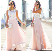 2019 NEW Hot Sell Women Sexy Vestidos Party Dresses Nude Pink Beach Summer Boho Maxi Long Hollow Out Patchwork Sundress dress