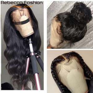 Rebecca Body Wave Lace Front Human Hair Wig with Baby Hair 180% Density Brazilian 13x4 Body Wave Lace Frontal Wig For Woman Remy(China)