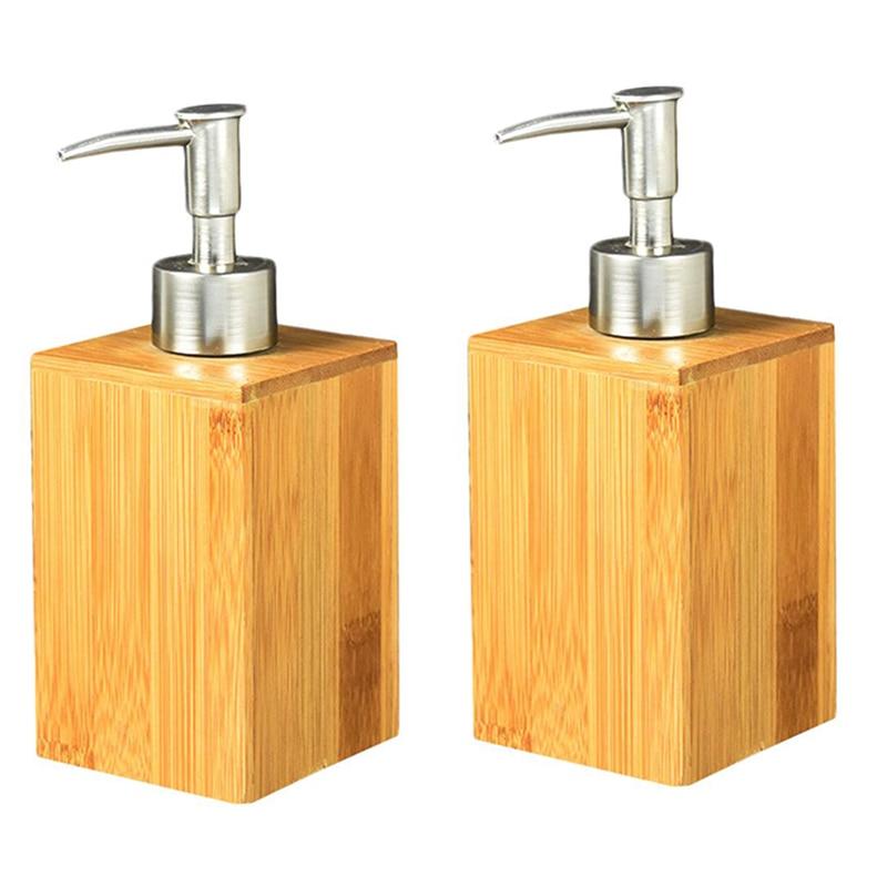 Liquid Soap Dispenser, Bamboo Wooden Household Bathroom Restaurant Hotel Bathroom Lotion Liquid Refillable Hand Sanitizer Bottle