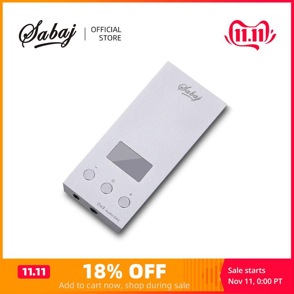 Sabaj da3 pequeno dac/amplificador de alta fidelidade hi-res amplificador de fone de ouvido portátil usb dac tela saída equilibrada nativo dsd512 32bit/768 khz