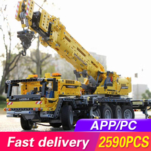 цены Lepining 20004 APP RC Technic Car Motor Power Mobile Crane Mk II Model Building Blocks Bricks Kids Toys Compatible Legoed 42009