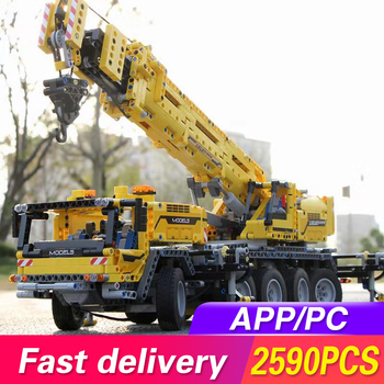Lepining 20004 APP RC Technic Car Motor Power Mobile Crane Mk II Model Building Blocks Bricks Kids Toys Compatible with 42009 20004 app rc technic series car motor power mobile crane mk ii model building blocks bricks compatible with 42009 toys kids gift