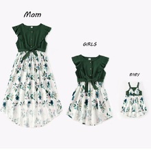 Irregular Mother Daughter Macthing Dresses Family Set Flower Mom Mum Baby Mommy and Me Clothes Fashion Women Girls Cotton Dress