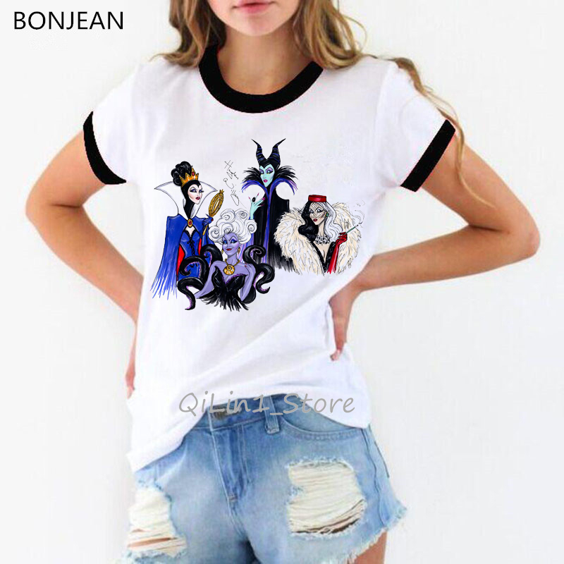 new arrival 2019 vogue princess t shirt women queen and villains print t-shirt camiseta mujer tumblr clothes white tshirt tops
