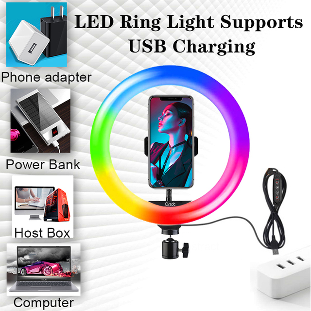 Orsda 10-13 Inch RGB Ring Light Tripod LED Ring Light Selfie Ring Light with Stand RGB 26 Colors Video Light For Youtube Tik Tok 6