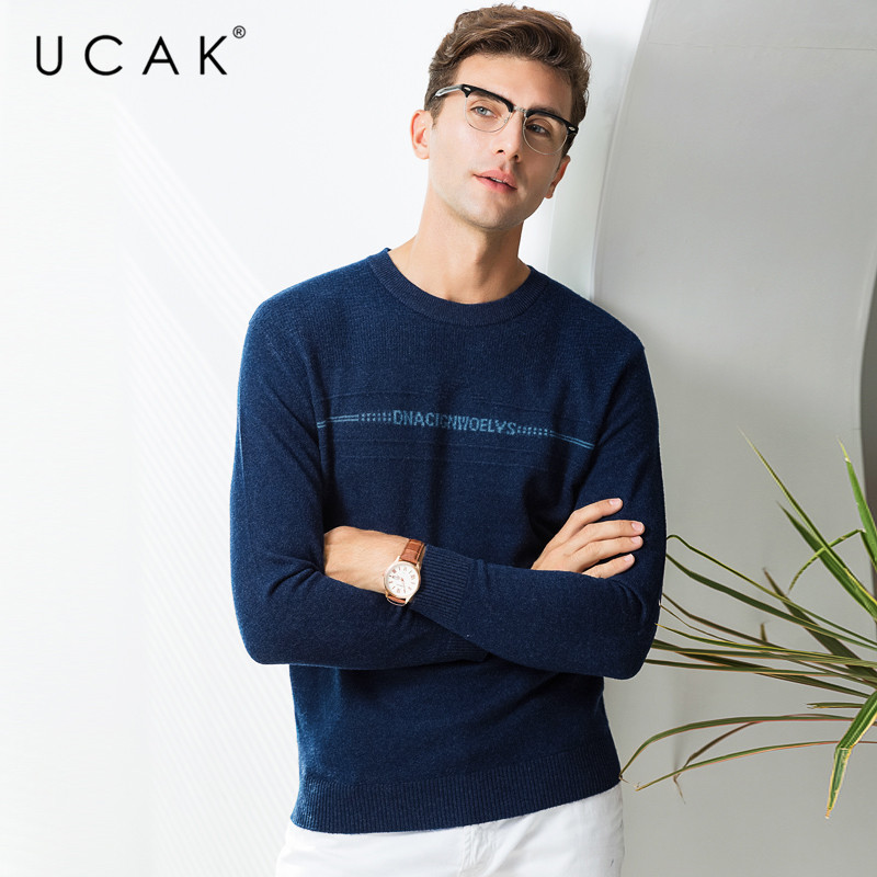 UCAK Brand 100% Merino Wool Sweater Men Fashion Casual O-Neck Pull Homme Autumn Winter Warm Cashmere Sweaters Pullover Men U3069