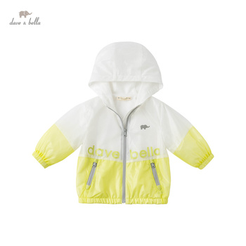 DBX16558 dave bella spring baby boys fashion patchwork letter pockets zipper hooded coat children tops infant toddler outerwear image