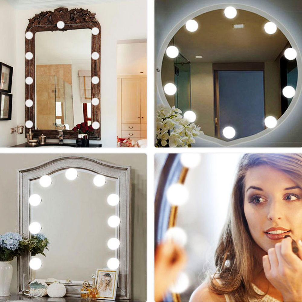 2pcs/ 6pcs/ 10pcs/ 14pcs Makeup Mirror Light Bulbs Dimmable Hollywood Vanity Mirror Led Bulb DC12V Light Bulbs Home Decor New