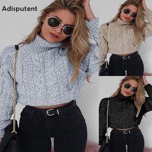 Adisputent Twist Surtlenecks Sweaters For Women Fashion Slim Cropped Jumpers Kntwear Autumn Solid Pullover Female Basic