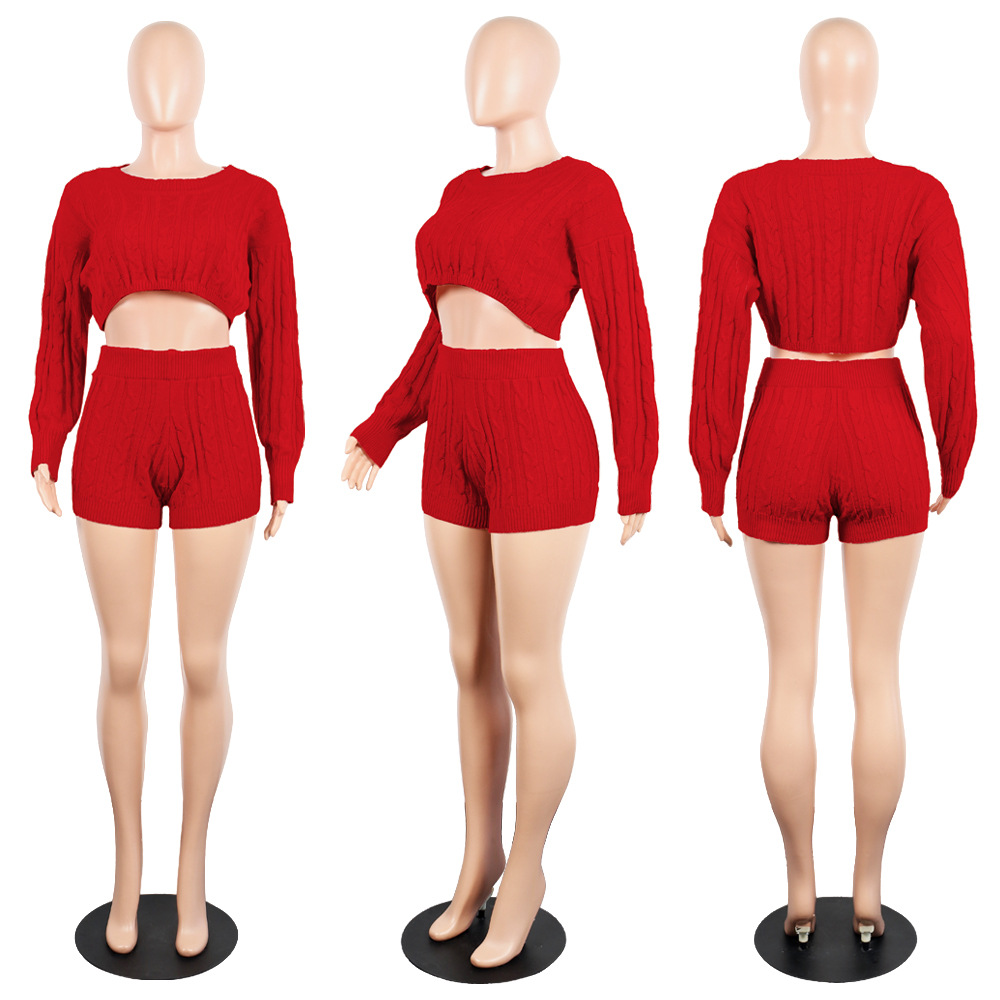 HAOYUAN Two Piece Set Women Clothes Fall Winter Club Outfits Long Sleeve Knit Crop Sweater Top Shorts Sexy 2 Piece Matching Sets