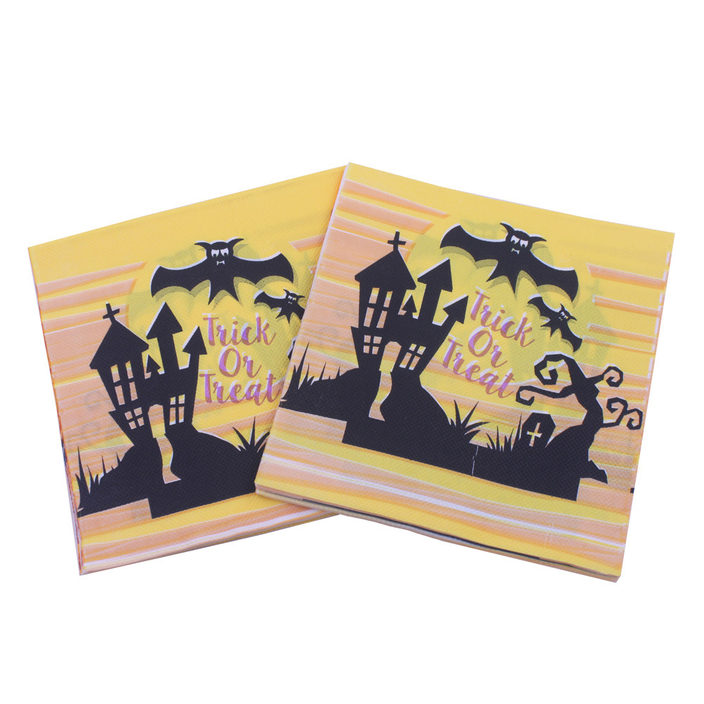 [] Multi-color Printed Napkin Halloween Bat Elf Paper Towel Kleenex Party Bar Decoration