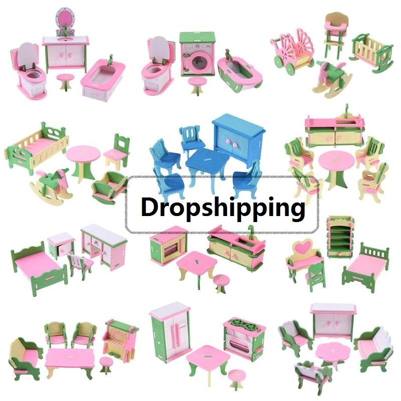 Wooden 3D Furniture Toys Kids Simulation DollHouse Furniture Set Toy Play House Dolls Baby Room Miniature Set Dropshipping