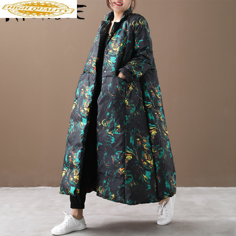 White Goose Down Jacket Women Korean Oversized Winter Coat Women Down Coat Print Puffer Jacket Warm Parka Abrigos YY1447