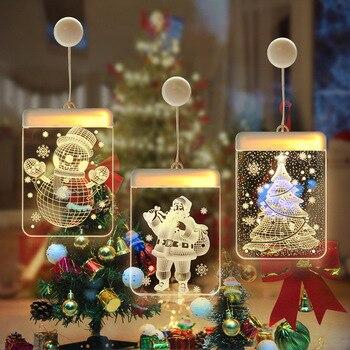 Christmas Window Sucker Light Bell Elk Tree Snowflake Pendants Battery/USB Xmas Garland New Year Christmas Decorations for Home christmas xmas elk display window new year ornament simulation deer decorations reindeer simulated toy kids gift