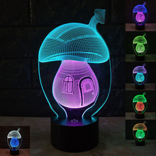 New 3D Vision Mushroom LED Night Light Creative Colorful Touch USB Charging Stereo Light Bedside Lamp Fairy Light Christmas Gift seven dragon ball colorful vision stereo led lamp 3d lamp light colorful gradient acrylic lamp remote control night light vision