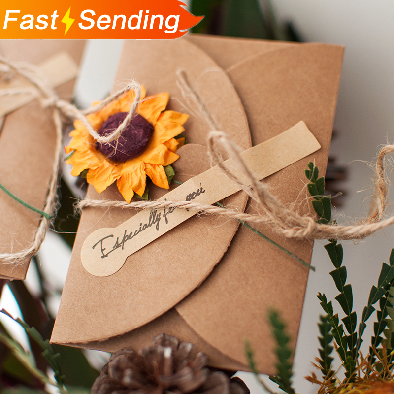1pc Kraft Simulation Flower Greeting Card Envelope Pure Retro Creative Invitation Wedding Thanks Birthday Card Party Supplies