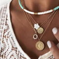 Necklace for Women Retro Multi-layered Soft Clay Flower Necklace with Round Exaggerated Clavicle Chain Jewelry Wholesale