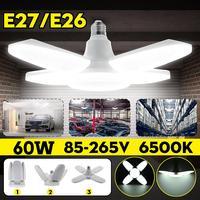 LED Garage Lights Foldable E27 Bulb 4 Adjustable Fan Blades Deformable Ceiling Lighting 6500K AC85 260V for Workshop Warehouse|Industrial Lighting| |  -