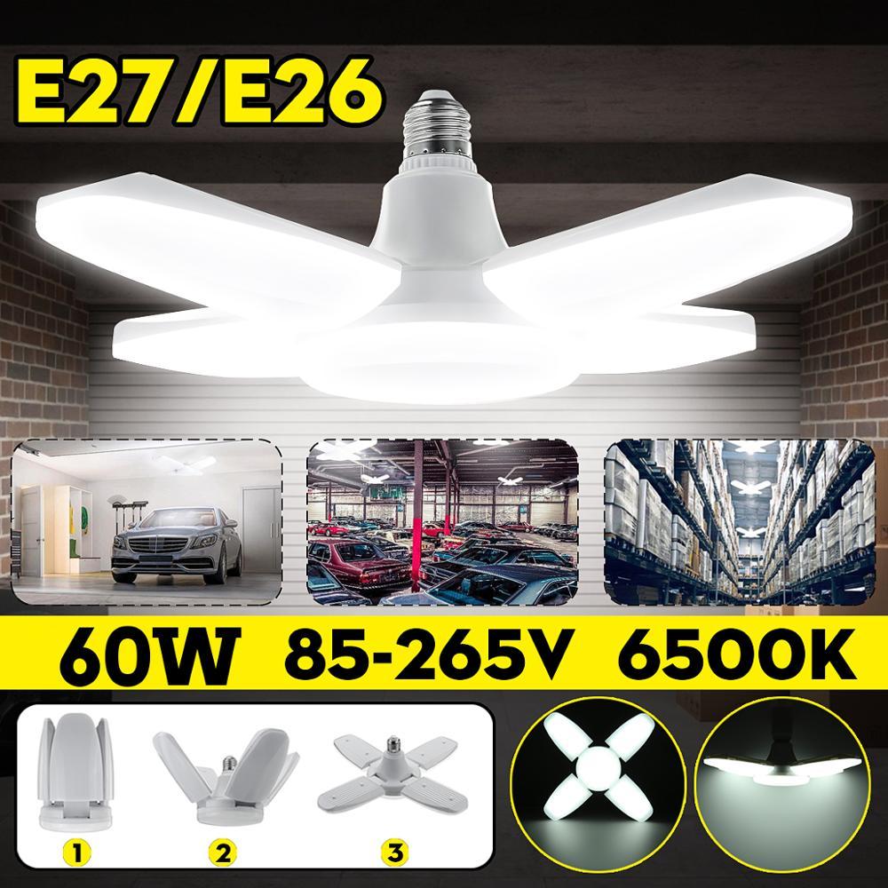 Led 차고 조명 foldable e27 전구 4 조정 가능한 팬 블레이드 변형 가능한 천장 조명 6500 k 워크샵 창고에 대 한 AC85-260V