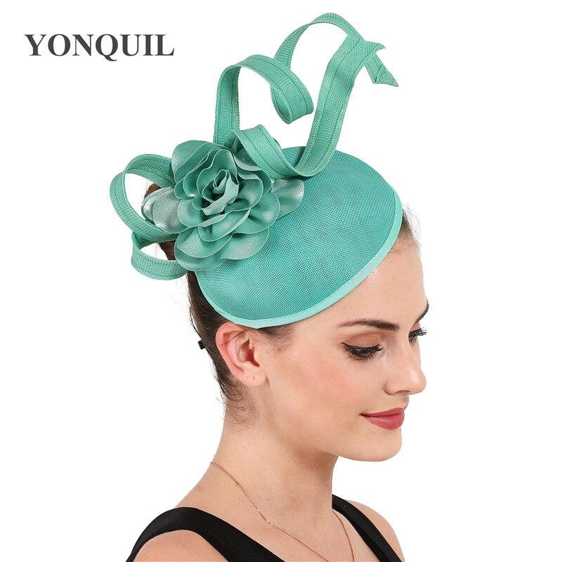Emerald green vintage weddding bride hat fascinator women ladies party dinner headwear cocktail headpiece wirh fashion flowers