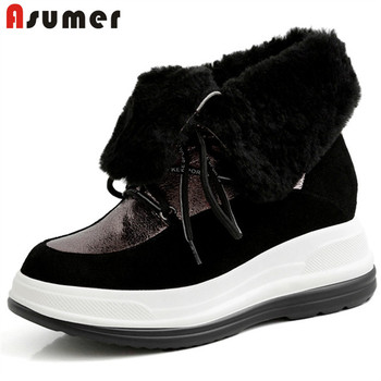 ASUMER 2020 top quality winter wool snow boots female flat platform shoes keep warm lace up round toe casual ankle boots women