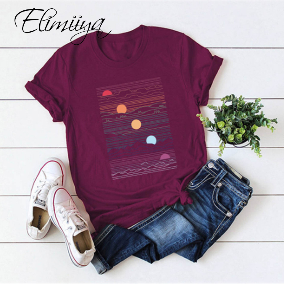 Elimiiya Abstract T shirt Women Oversized Print T-shirt Short Sleeve O-Neck  Womens clothing  Ladies Tops Tees 2020 Summer Top 1