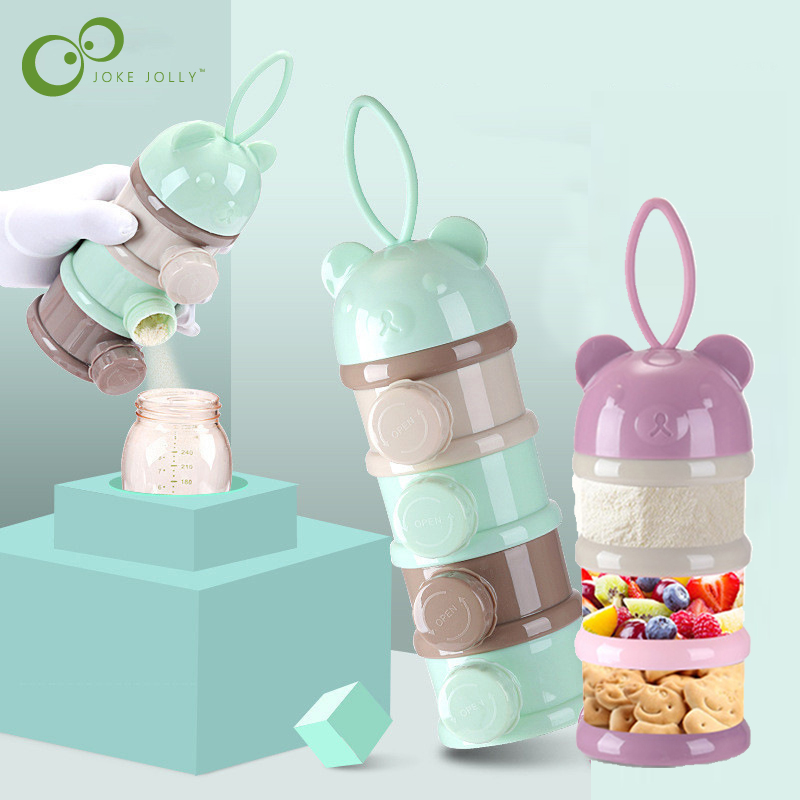 3 / 4 layers Bear Style Portable Baby Food Storage Box Essential Cereal Infant Milk Powder Box Toddle Snacks Container ZXH