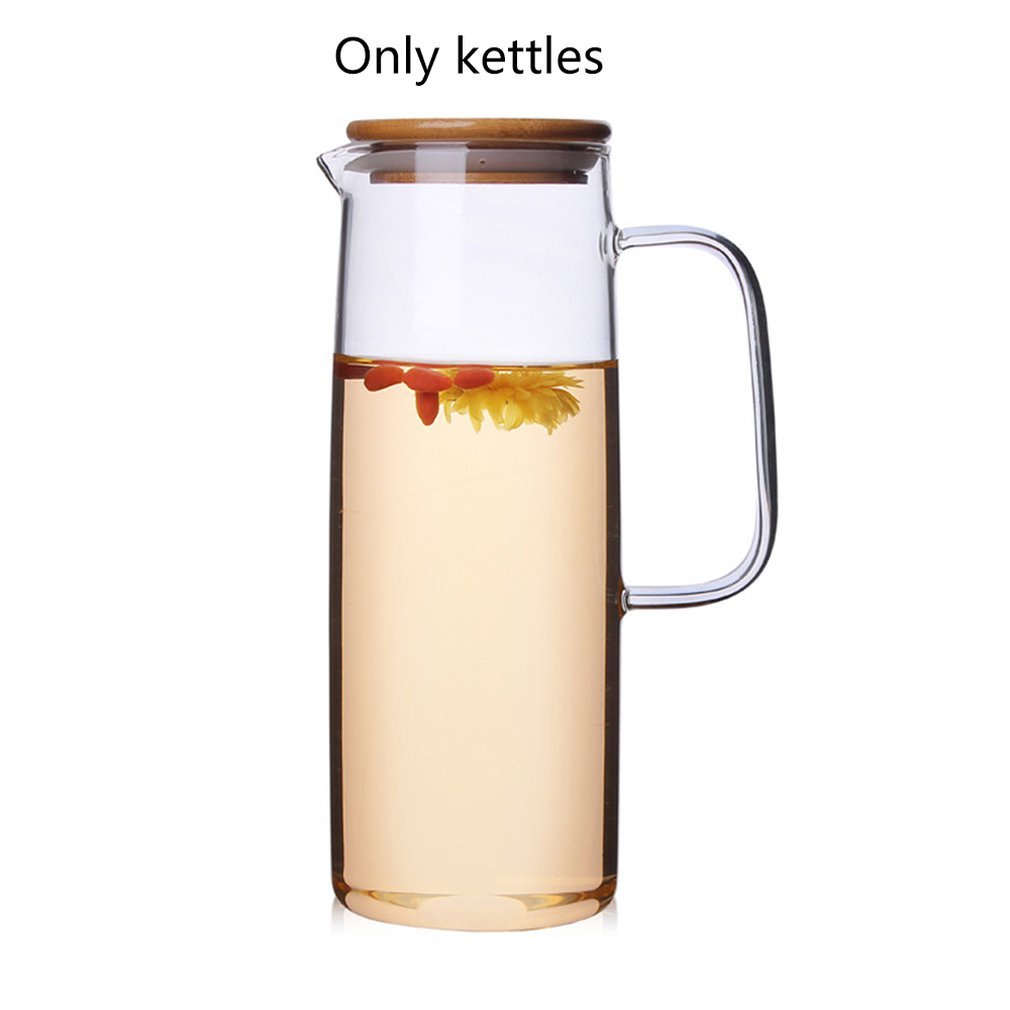 Cold-Water-Bottle Teapot Bamboo-Cover Glass-Jug Heat-Resistant Straight Body-Pot title=