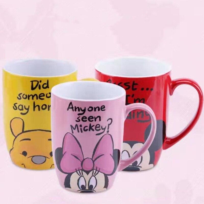 500mL Disney Mickey Minnie Winnie Pooh Cartoon Ceramic Water Cup With Handle Coffee Milk Mug Home Office Cups Women Girl Gift
