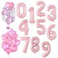 40-дюймовый светодиод Фольга розовые воздушные шарики в виде цифр, для детей 0, 1 2 3 4 5 6 7 8 9 надуваемые воздухом клипсы для воздушных шаров 18 Happy ...