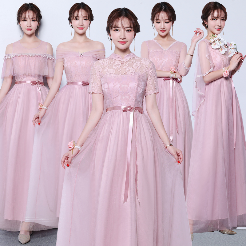 Pink Burgundy Bridesmaid Dress Sister Tulle Vestido Largo Sirena Maid Of Honor Dresses For Weddings V-neck Sexy Dress Prom Club