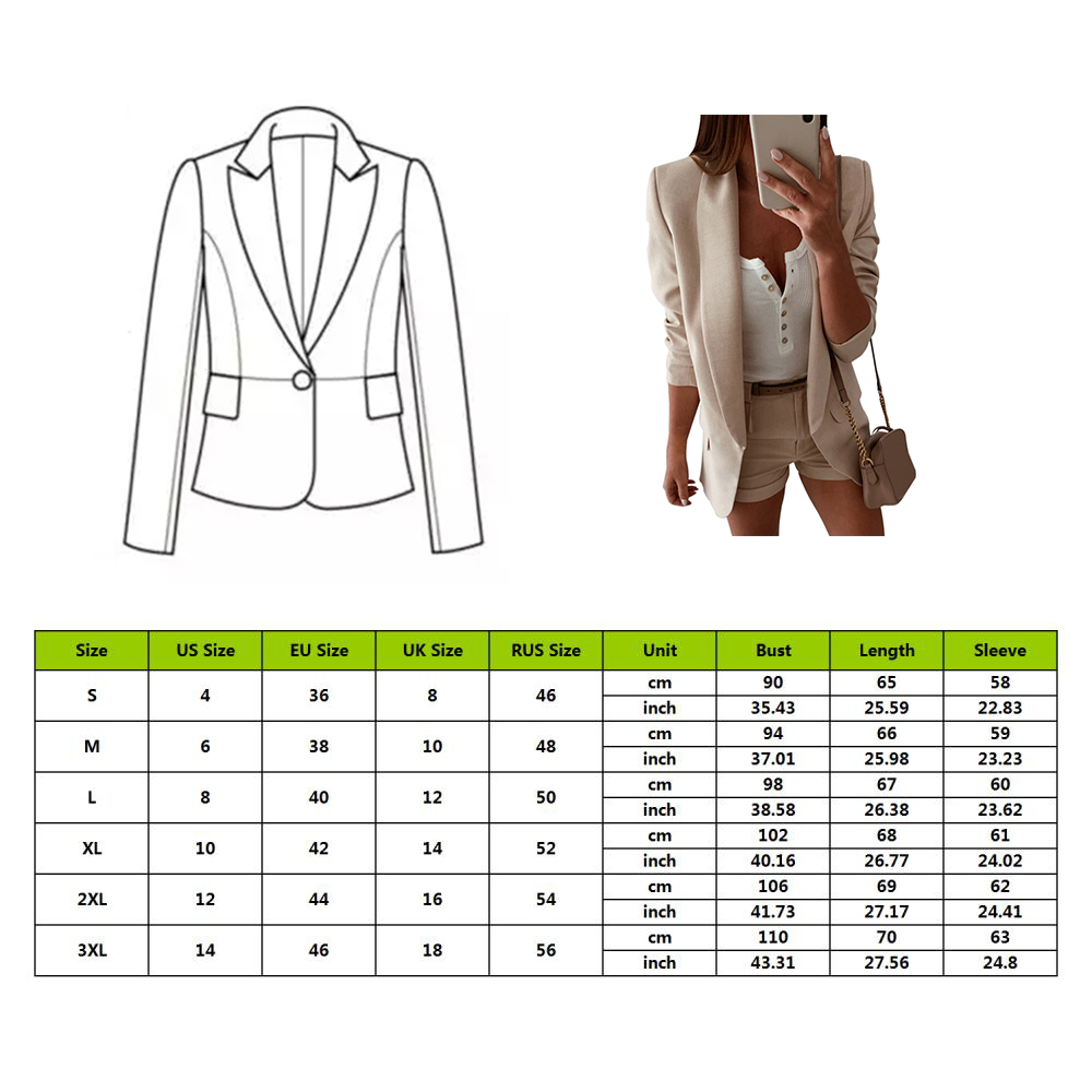 OEAK Women Blazer Jacket 2019 Suit Jackets Autumn Solid Lapel Slim Fit Tops Ladies Business Office Coat Plus Size Outerwear