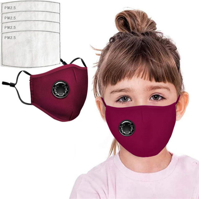 4 PCS Filter Fashion Kids Mask Mouth Respirator Washable Reusable Child Masks Cotton Unisex Mouth Muffle Black Anti Flu Mask 3
