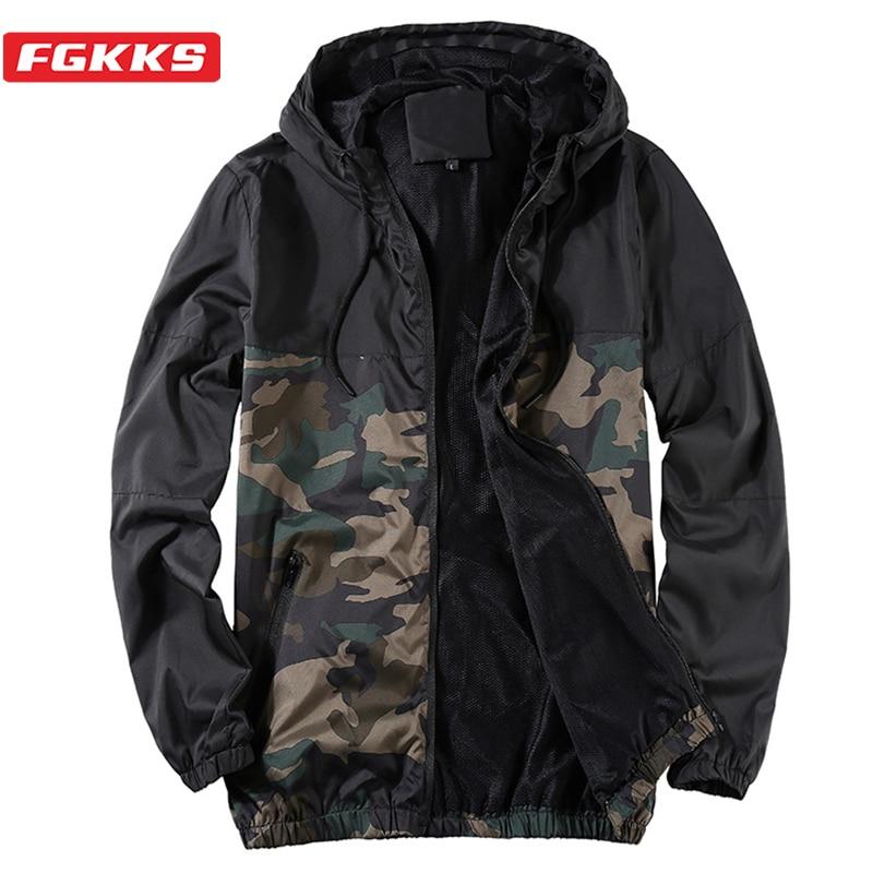 FGKKS Men's Fashion Breathable Jackets Summer Autumn Male Casual Hooded Jacket Coat Men Frivolous Sun Protection Jackets