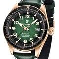44 мм Pagani Дизайн Зеленый циферблат светящийся указатель мужские часы кожаный ремешок водонепроницаемые Роскошные спортивные механические ...