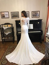 New  Simple Mermaid Wedding Dress Long Sleeve 2020 Bride Button Lustrous Satin O-Neck Gowns vestidos de novia