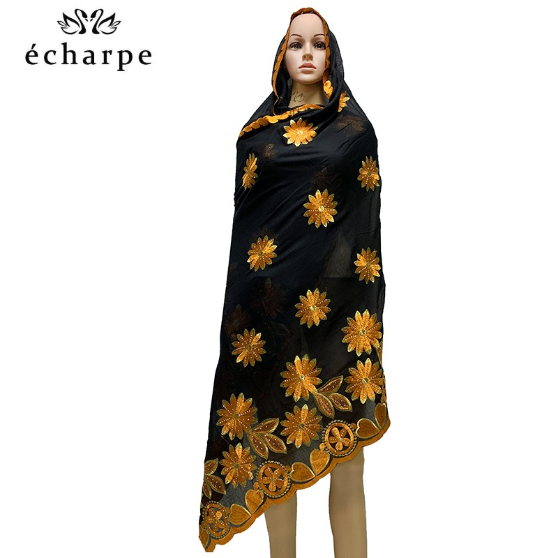 2020 New African Women Scarf, Embroidery Cotton Women Economic Scarf Big Size Scarf For Shawls EC982