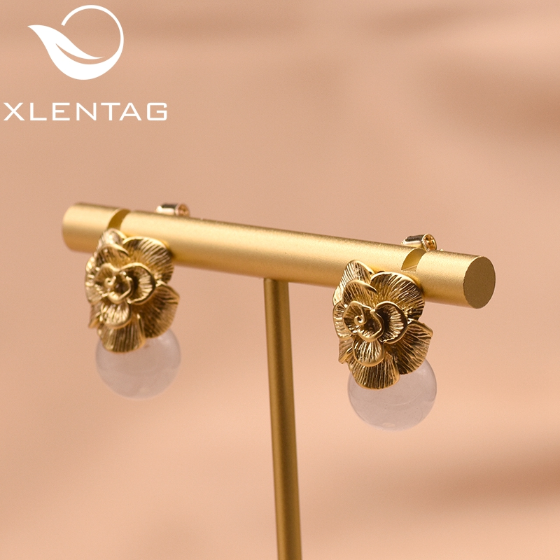 XlentAg 925 Sterling Silver Ear Pin Natural Pink Round Crystal Drop Earrings For Women Plant Flower Engagement GE0336