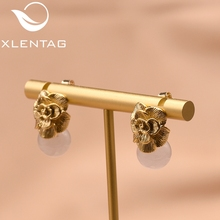 XlentAg 925 Sterling Silver Ear Pin Natural Pink Round Crystal Drop Earrings For Women Plant Flower Engagement Earrings GE0336 925 silver charming crystal ear pin earrings pair