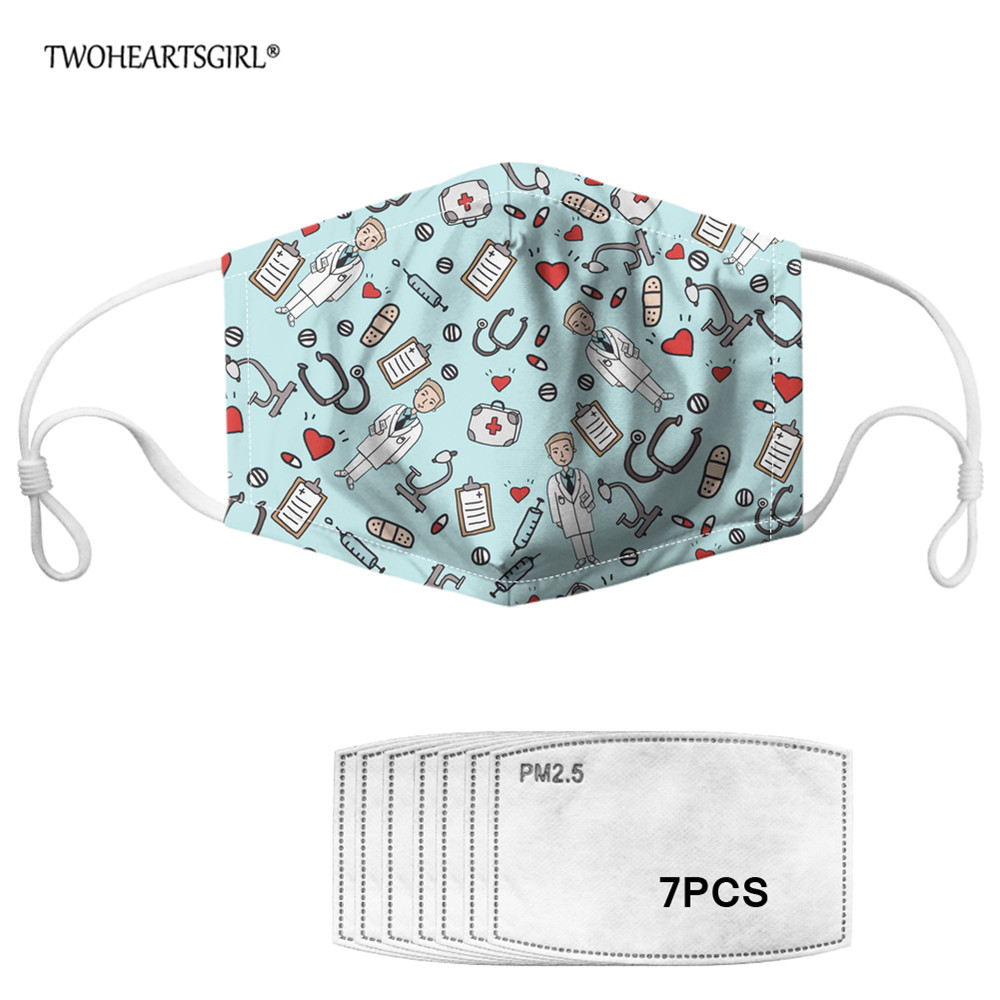 TWOHEARTSGIRL PM2.5 Women Men Face Mouth Mask Nurse Doctor Pattern Design Masks With 7pcs Filters Anti-dust Mouth Muffle Mask