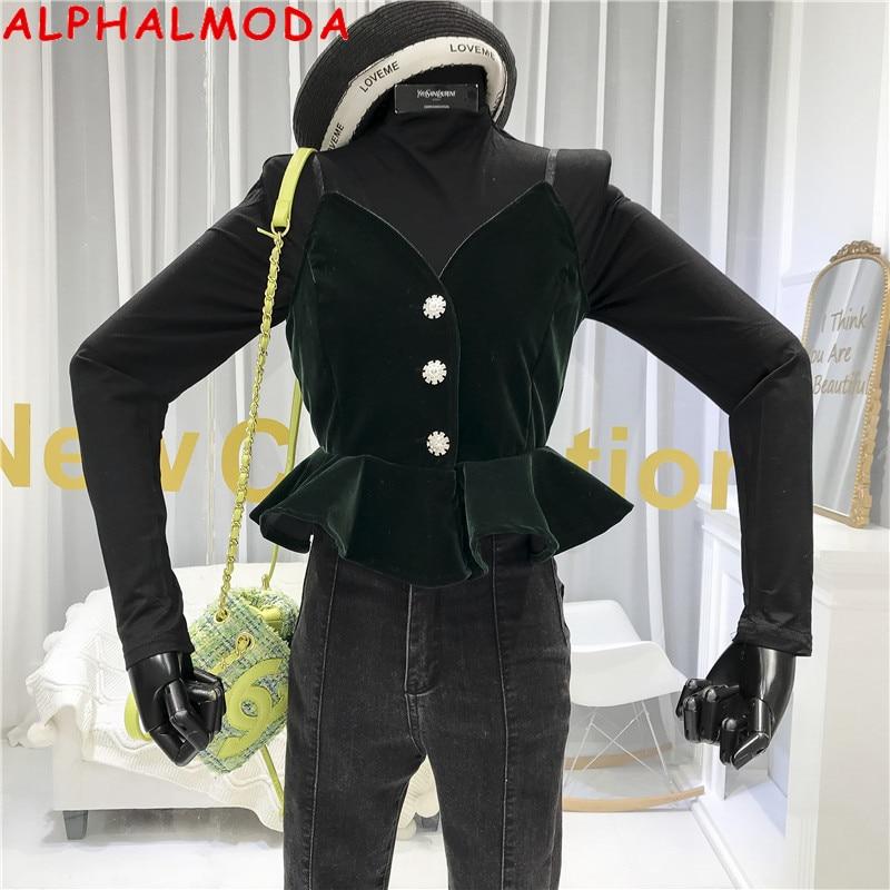 ALPHALMODA Velvet Vest + Long-sleeved Tshirt Women Fashion 2pcs Outfit Adjustable Ruffled Camisole Shirt + Long Fashion Tshirt