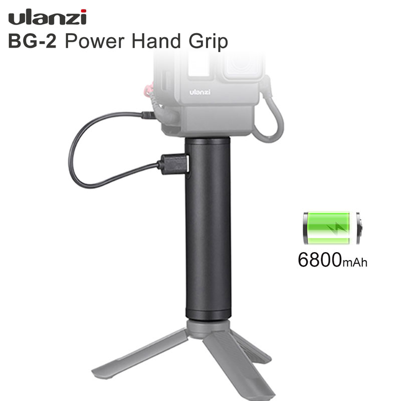 Ulanzi BG-2 6800mAh Power Grip Stick For Gopro 7 6 5 Black Osmo Pocket Action Vlog Selfie Stick Handgrip Type-C Power Supply