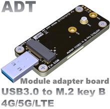 M.2 NGFF USB 3.0 adaptör kartı ile çift SIM kart yuvaları, destek 4G/5G/LTE modülü, yüksek akım WWAN modülü adaptörü testi